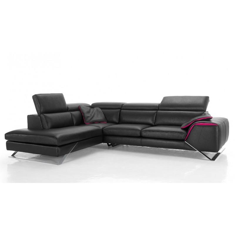 canap d 39 angle avec grande m ridienne cuir haut de gamme upper. Black Bedroom Furniture Sets. Home Design Ideas