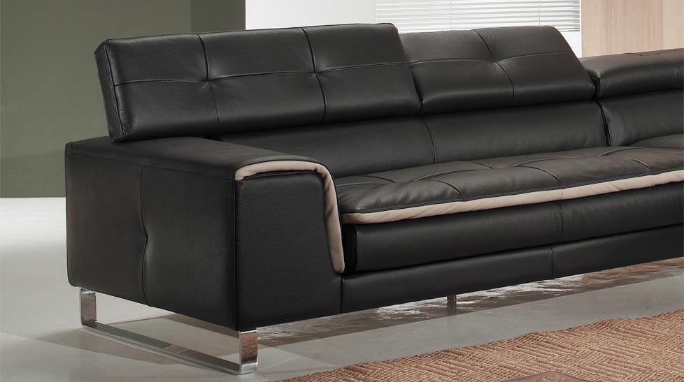 Canap d 39 angle chaise longue en cuir haut de gamme italien for Canape angle cuir design