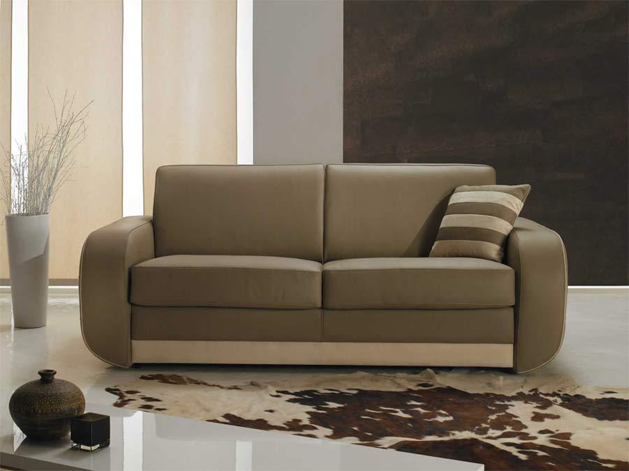 Canap fixe cuir beige haut de gamme italien pas cher - Canape italien direct usine ...