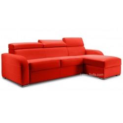 Canapé lit d'angle réversible en cuir avec coffre de rangement - cuir marron