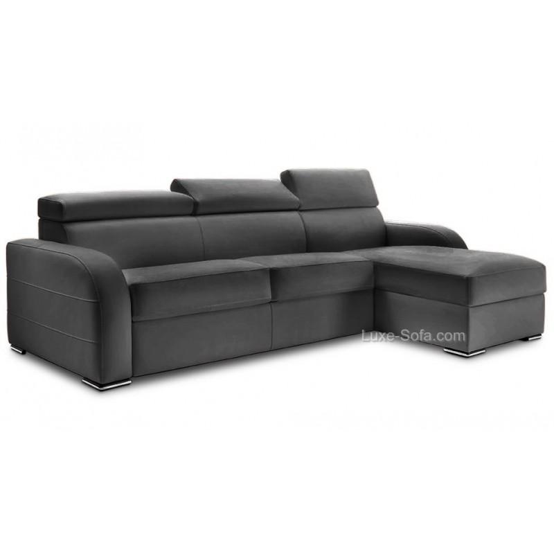 Canap lit d 39 angle r versible cuir avec appuis t tes for Canape lit angle