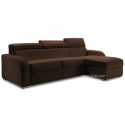 Canapé lit d'angle réversible en cuir avec appuis têtes ajustables