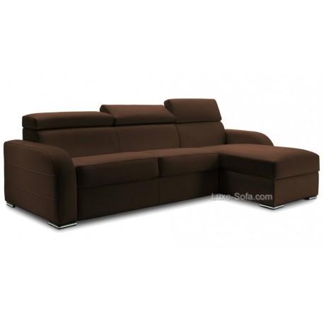 Canapé rapido angle réversible haut de gamme Verysofa Dream têtière cuir ou microfibre marron