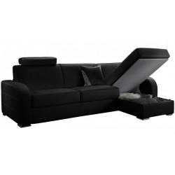 Canapé d'angle convertible réversible en cuir