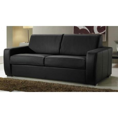Canapé convertible cuir noir - couchage quotidien