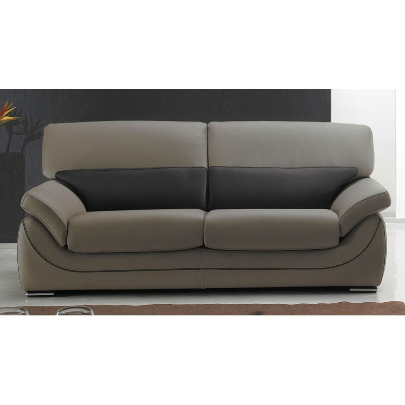 Martina canap cuir 3 places bicolore beige et marron - Canape relax cuir 3 places ...