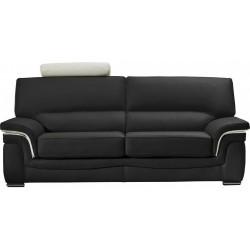 Canapé en cuir classique avec soufflets contrastés