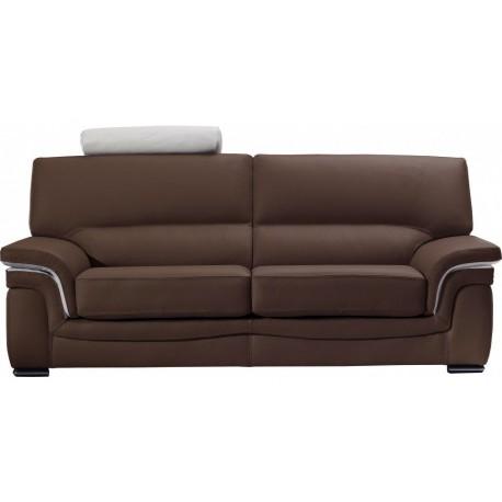 Canapé cuir bicolore marron et blanc