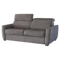 Canapé fixe en tissu microfibre avec têtières ajustables