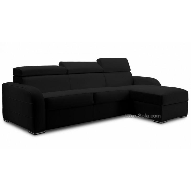 Canapé lit d\'angle réversible tissu microfibre #DREAM TETIERE#