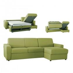 Canapé lit angle réversible microfibre vert