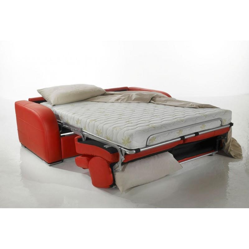 Canap lit rapido tissu avec appuis t te ajustables dream - Canape convertible matelas epais ...