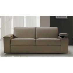 Canapé lit express cuir avec rangement intégré accoudoir - cuir gris anthracite