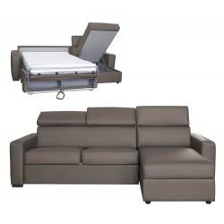 Canapé d'angle convertible et réversible en cuir pas cher - appui-têtes ajustables