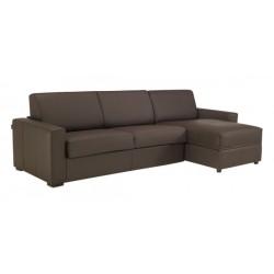 Canapé d'angle convertible et réversible en cuir noir