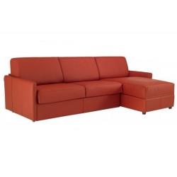 Canapé convertible ouverture express avec angle réversible en cuir de vachette marron