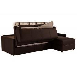 Canapé d'angle convertible en cuir avec coffre de rangement accoudoirs fins