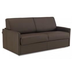 Canapé lit en cuir à ouverture express accoudoirs fins - marron