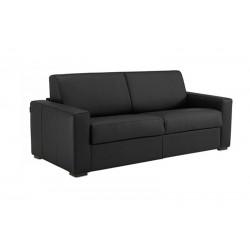 Canapé convertible en cuir noir matelas 14 cm ouverture express