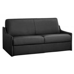Canapé lit compact gain de place en cuir beige - matelas 14 cm ou 18 cm