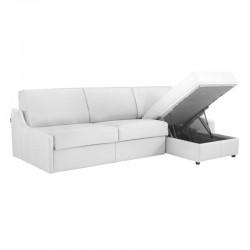 Canapé lit d'angle réversible accoudoirs extra plats en cuir