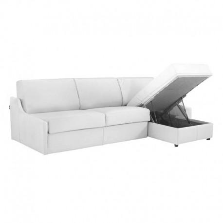 Canapé lit d'angle réversible accoudoirs extra plats en cuir de vachette blanc