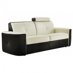 Canapé lit convertible en cuir bicolore blanc / taupe - Vanity Verysofa