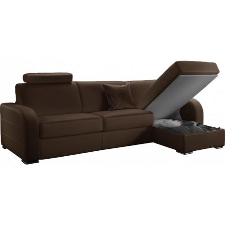 Canapé d'angle convertible réversible en cuir marron - Dream Marie