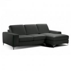 Canapé d'angle gauche en cuir noir