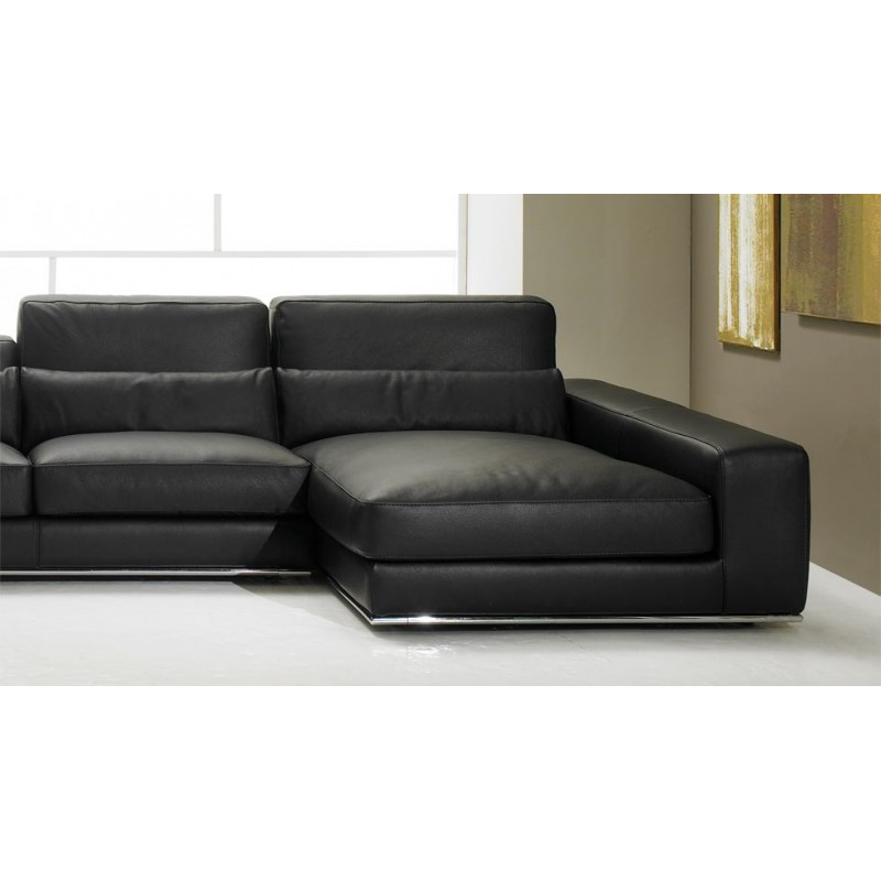 stock canap d 39 angle droit cuir noir matisse verysofa. Black Bedroom Furniture Sets. Home Design Ideas