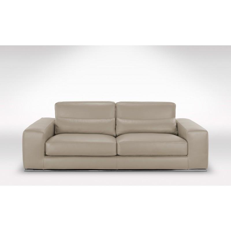 canap 4 places cuir premium gris clair en stock. Black Bedroom Furniture Sets. Home Design Ideas