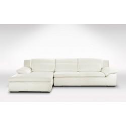 DESTOCKAGE - Canapé d'angle gauche en cuir blanc crème