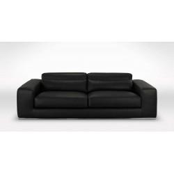 DESTOCKAGE - Canapé 3 places noir cuir premium 2 mm