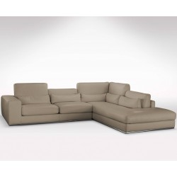 Grand canapé d'angle avec méridienne en cuir haut de gamme