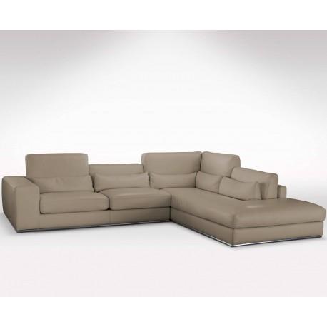 Grand canapé d'angle en cuir beige méridienne haut de gamme  Direct usine