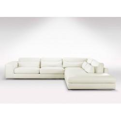 Grand canapé d'angle en cuir beige méridienne haut de gamme |Direct usine