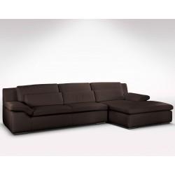 Canapé d'angle en cuir beige Adrano Glamour - grande méridienne