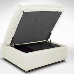 Pouf avec coffre de rangement en cuir blanc