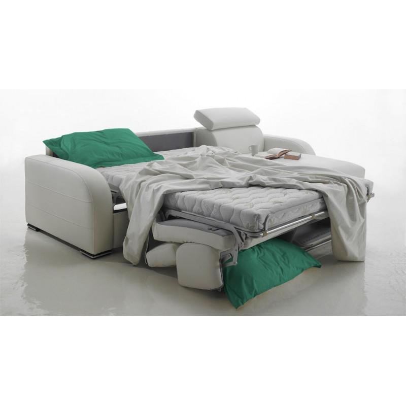 canapé lit d'angle réversible cuir avec appuis têtes ajustables