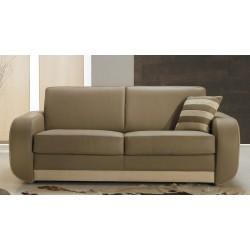Canapé design en cuir beige