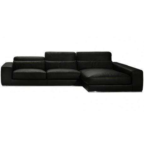 Canapé d'angle cuir noir Firenze Matisse, haut de gamme Italien