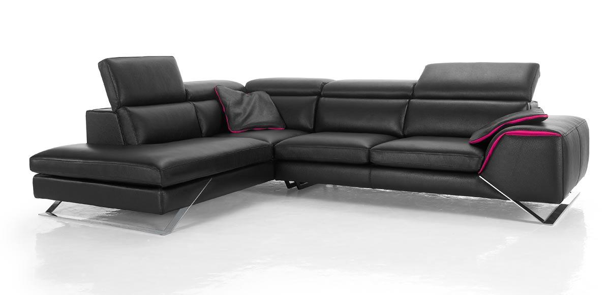 Canap d 39 angle avec grande m ridienne cuir haut de gamme upper - Densite mousse canape ...