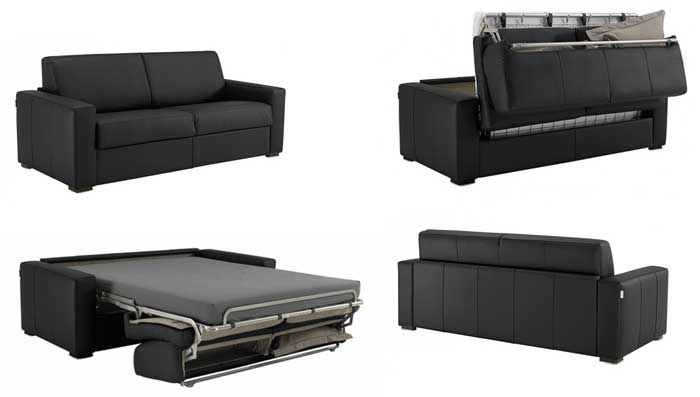 canap convertible en cuir matelas 14 cm petit prix. Black Bedroom Furniture Sets. Home Design Ideas
