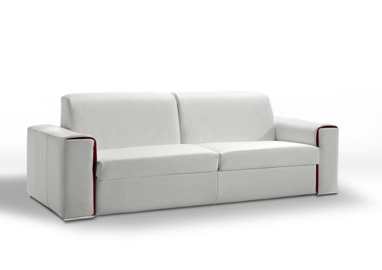 Canapé cuir convertible journalier Lampolet avec matelas 18 cm