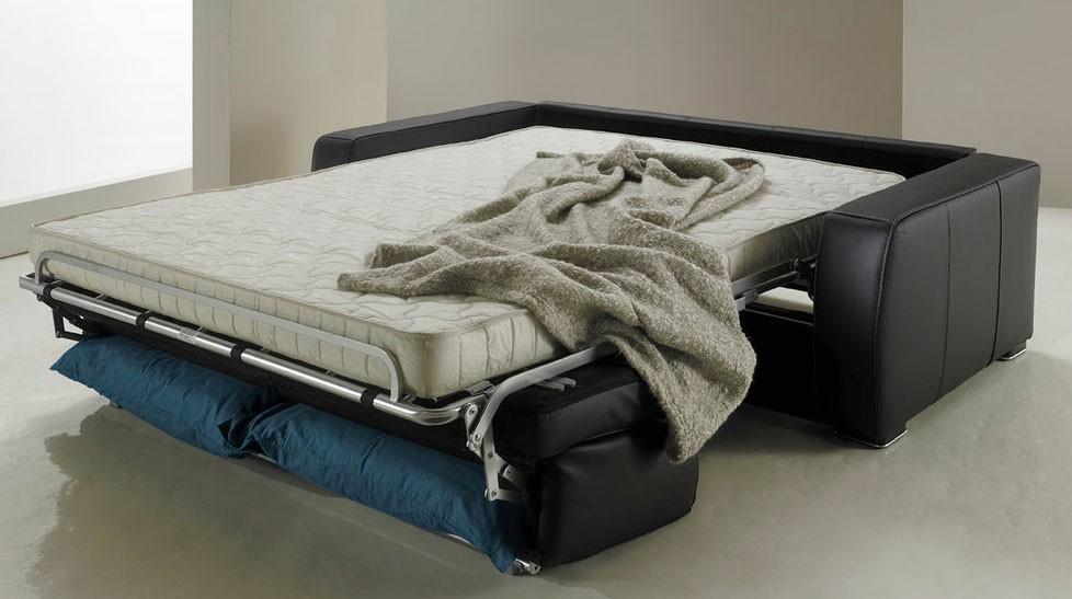 canap lit rapido en cuir de vachette pas cher. Black Bedroom Furniture Sets. Home Design Ideas