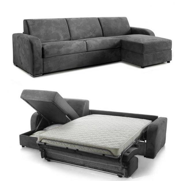 Canap lit d 39 angle avec coffre r versible tissu prix bas - Canape convertible demontable ...